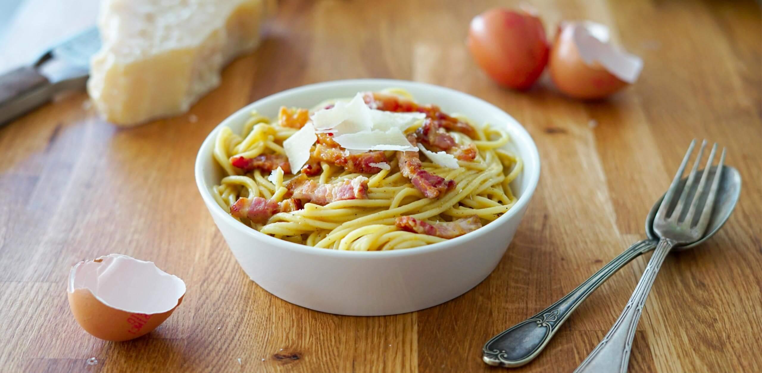 Spaghetti à la carbonara rapide